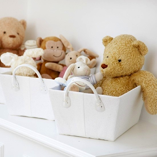 Fabric baskets can delicately hold precious toys