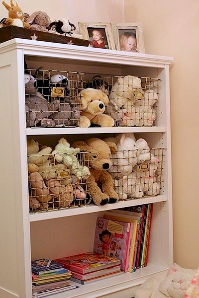 Use wire baskets to store in any wooden cabinet stuffed animals