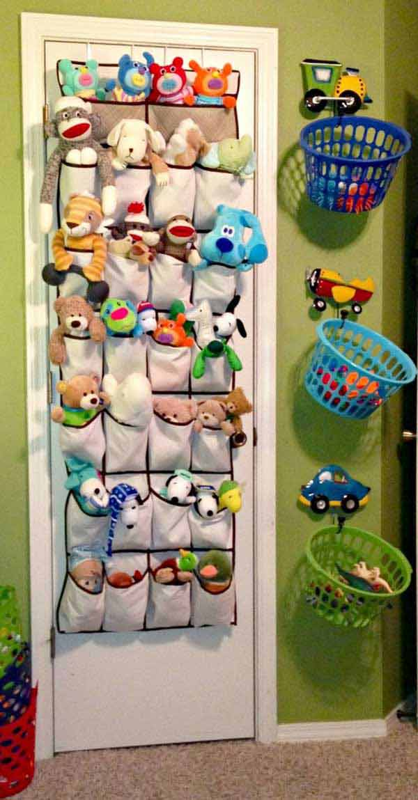 Use a door hung shoes organizer to store your little one's stuffed friends