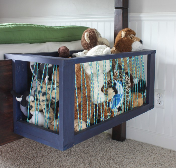 Attach wire baskets to the bed for extra storage space
