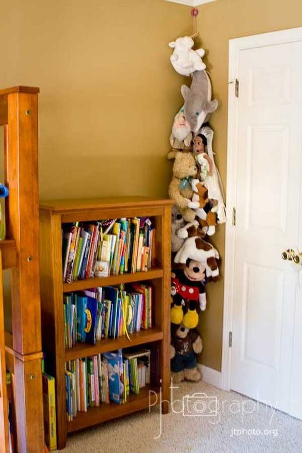 Create a stuffed animal storage ladder just behind the door