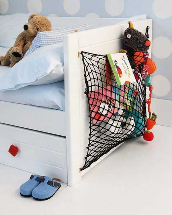 Use wire nets attached to the sides of the bed for extra space