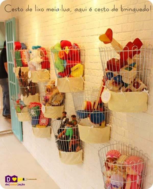 Wire baskets can be hung on the wall for storage