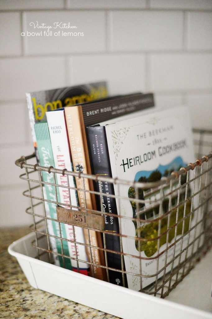 cookbook storage solutions in wire baskets