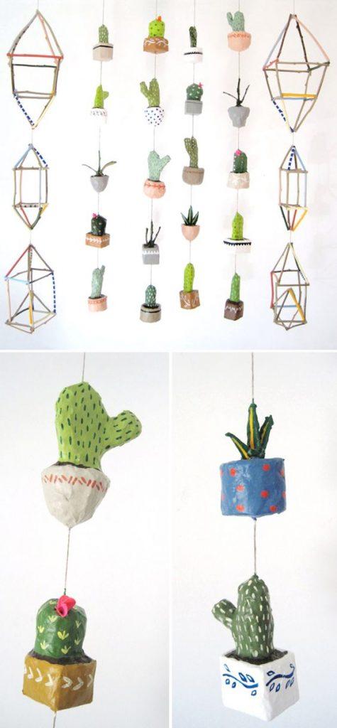a paper mache cacti garland