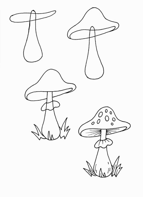 Learn how to simply draw a mushroom