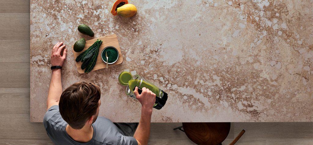 granite countertop with veggies