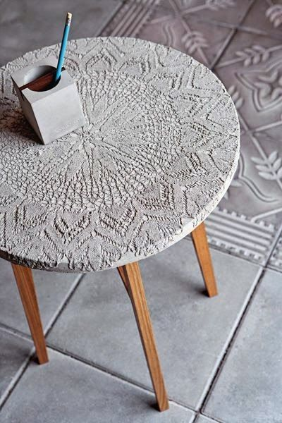 Coffee table from lace imprinted concrete