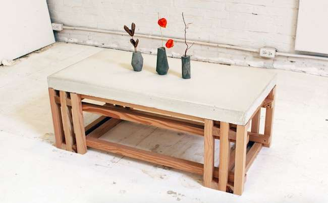 Wood and concrete combined into furniture design