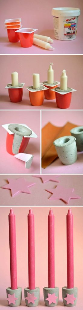 Candlestick holders using cement and plastic containers