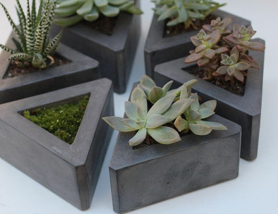 Stacking black cement succulent holders