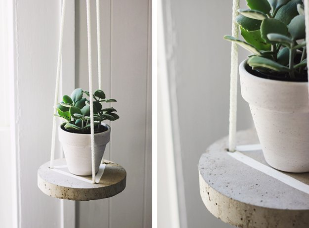 Round concrete hanging shelf