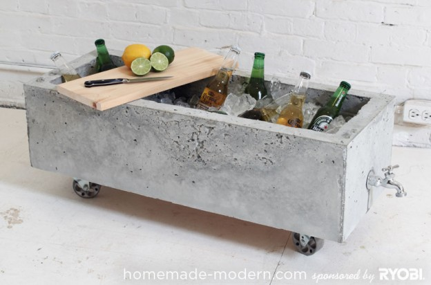 Bar on wheels from concrete