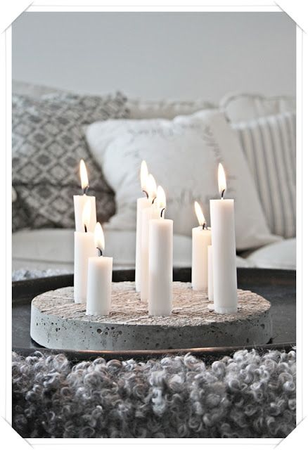 Concrete round candle holders