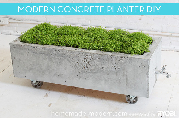 Concrete planter on wheels perfect for patios