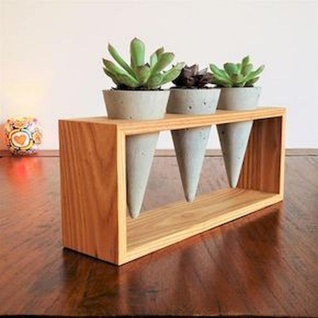 Cone planters adding an edge to wood