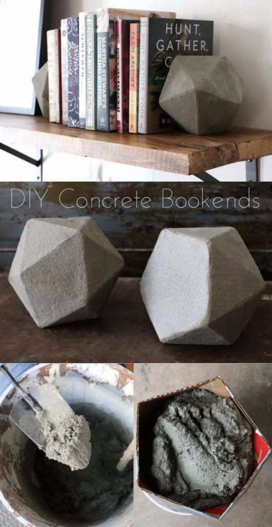 Concrete bookends for an industrial accent