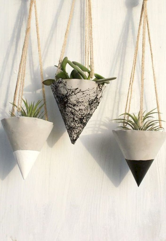 Cone shaped cement hanging pots