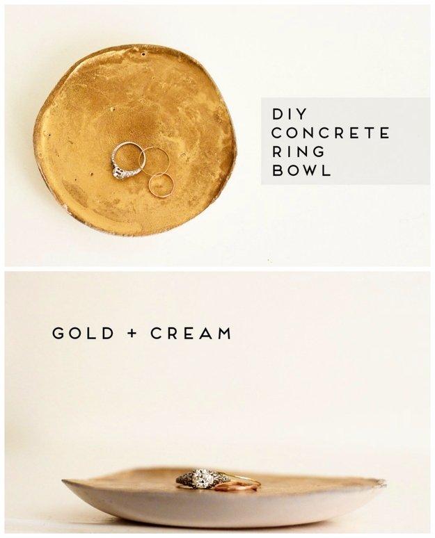 Gold cream DIY concrete ring bowl