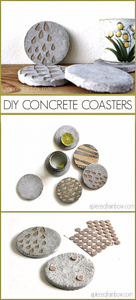 DIY concrete coasters with gold touches