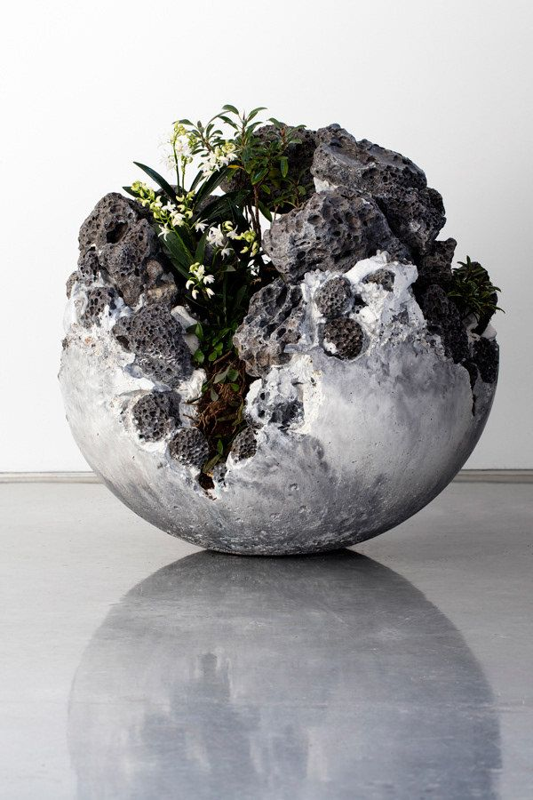 Geode inspired concrete globe planter