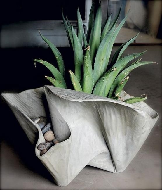 Organic folded cement flower pot
