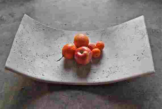 Curved cement fruit platter