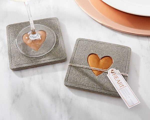 Gold heart imprinted coasters