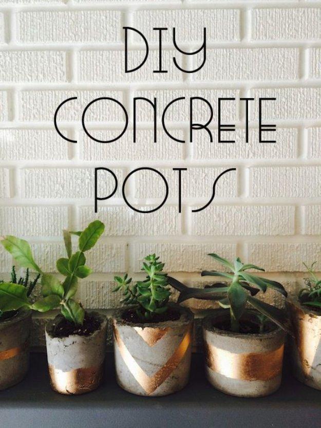 Concrete and gold flower pots