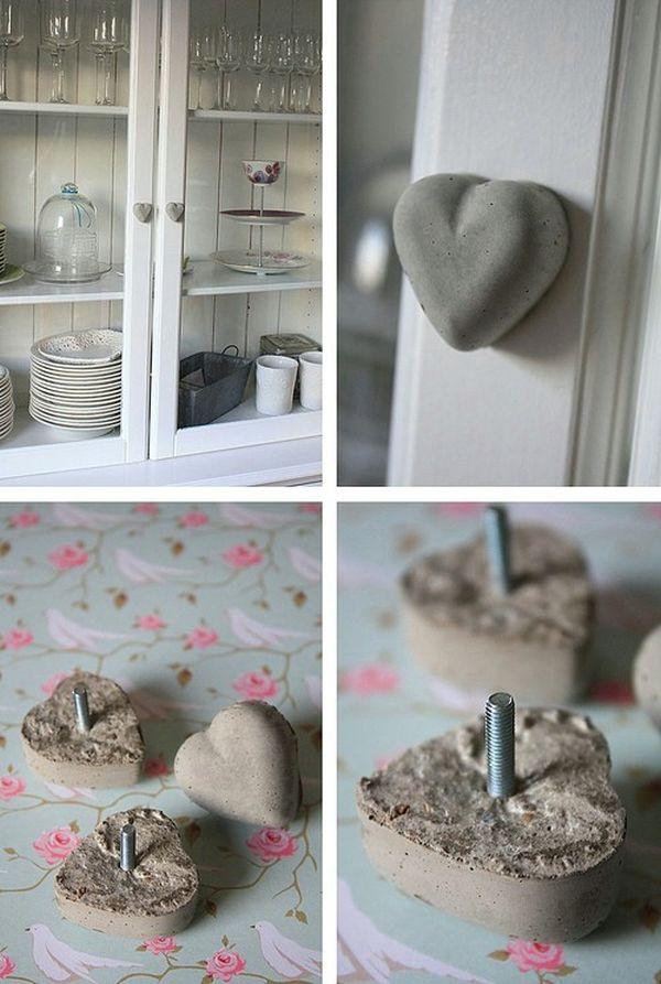 Heart shaped concrete door knobs