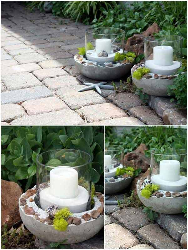 Garden candle holder base from concrete