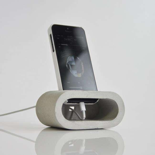 Contemporary concrete telephone holder