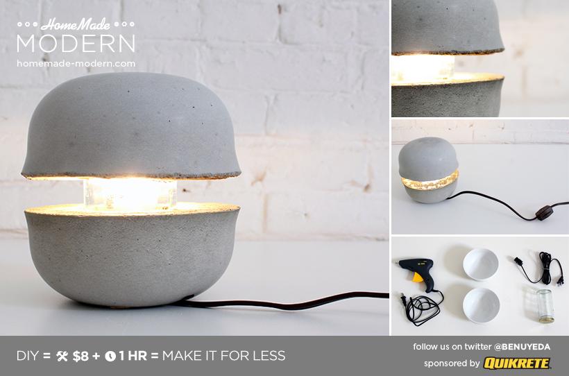Modern concrete side table lamp