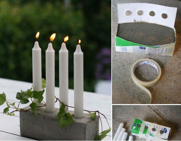 Candlestick holder using cement and a cardboard box