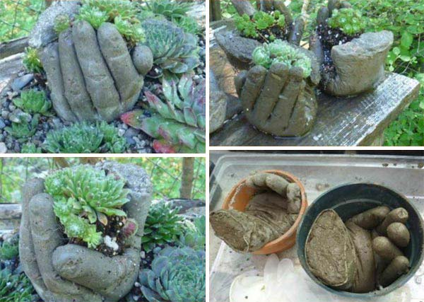 Using hands to mold planters