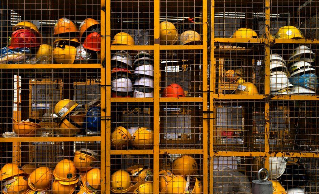 workers helmets
