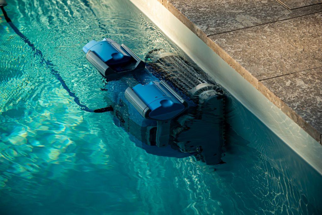 blue robotic pool cleaner