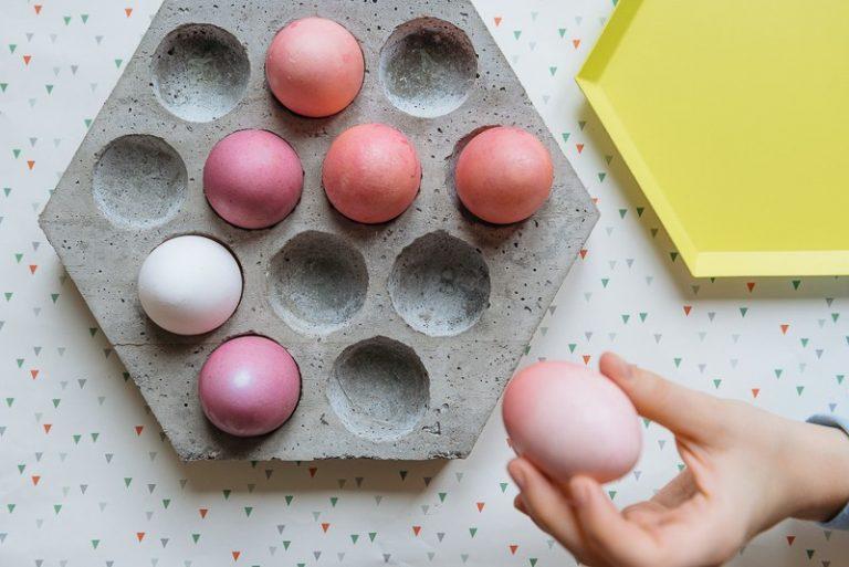 Hexagonal concrete Easter egg holder