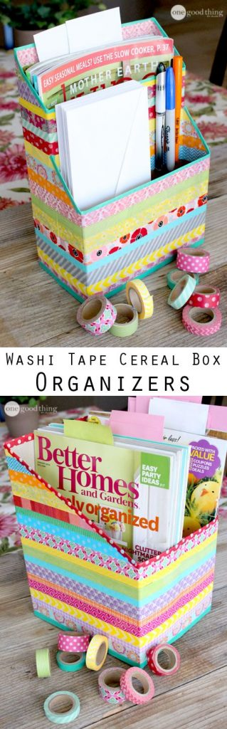 Cereal box magazine and pencil organizer you can place on your work desk